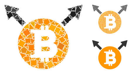 Bitcoin fork mosaic of elements in various sizes and color tones, based on Bitcoin fork icon. uneven elements are grouped into mosaic. Bitcoin fork icons collage with dotted pattern.