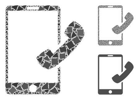 Call smartphone mosaic of unequal elements in variable sizes and color hues, based on call smartphone icon. Vector unequal items are united into mosaic.