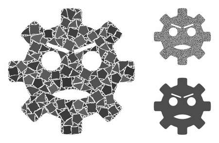 Gear angry smiley composition of tuberous parts in various sizes and shades, based on gear angry smiley icon.