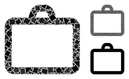 Case mosaic of irregular items in various sizes and color hues, based on case icon. Vector trembly items are grouped into mosaic. Case icons collage with dotted pattern. Illustration