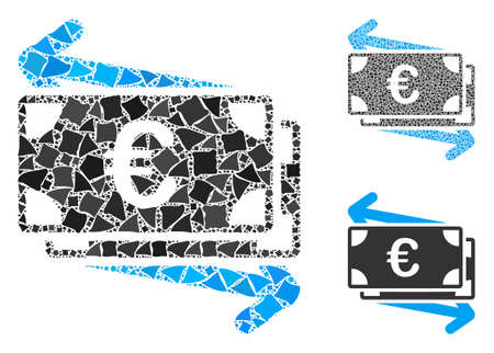Euro money transfer composition of uneven parts in different sizes and shades, based on Euro money transfer icon. Vector rugged parts are grouped into composition.