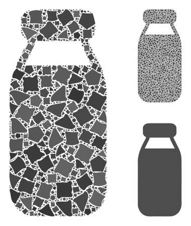 Bottle composition of irregular items in different sizes and color hues, based on bottle icon. Vector irregular parts are grouped into composition. Bottle icons collage with dotted pattern.