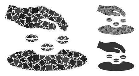 Sow seeds mosaic of rough elements in various sizes and color tinges, based on sow seeds icon. Vector rugged elements are composed into mosaic. Sow seeds icons collage with dotted pattern.