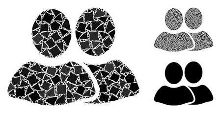 Clients mosaic of uneven parts in various sizes and color tones, based on clients icon. Vector joggly parts are combined into collage. Clients icons collage with dotted pattern.