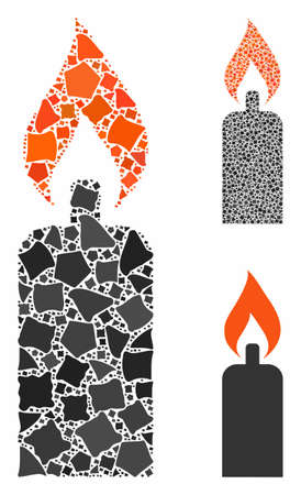 Candle mosaic of irregular pieces in various sizes and color tinges, based on candle icon. Vector irregular parts are grouped into mosaic. Candle icons collage with dotted pattern.