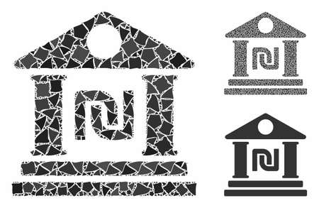 Shekel bank building composition of abrupt elements in different sizes and color tinges, based on shekel bank building icon. Vektoros illusztráció