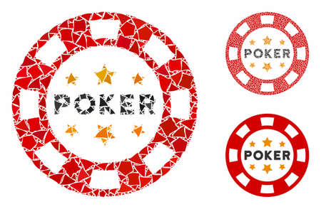 Poker casino chip composition of abrupt elements in different sizes and color tones, based on poker casino chip icon. abrupt elements are composed into composition.