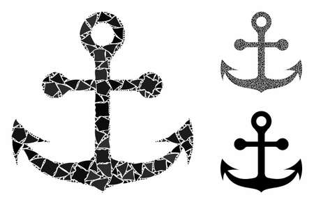 Navy anchor composition of uneven items in different sizes and color tints, based on navy anchor icon. Vector tremulant items are composed into composition.