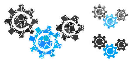 Transmission gears rotation composition of tuberous elements in various sizes and color hues, based on transmission gears rotation icon. Vector trembly elements are organized into collage.