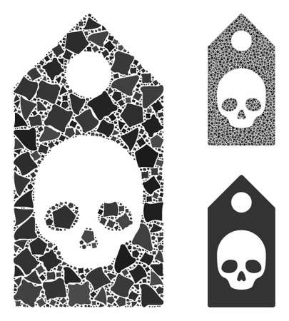 Death coupon mosaic of abrupt elements in various sizes and color tones, based on death coupon icon. abrupt items are organized into collage.