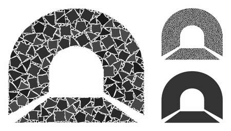 Tunnel mosaic of irregular elements in variable sizes and shades, based on tunnel icon. Vector raggy elements are composed into mosaic. Tunnel icons collage with dotted pattern.