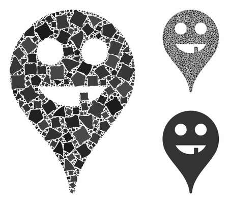 Toothless smiley map marker composition of rugged elements in various sizes and color tones, based on toothless smiley map marker icon. unequal elements are combined into collage.