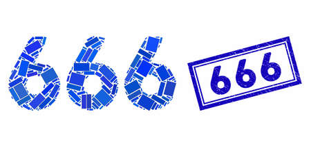 Mosaic 666 digits text and rubber stamp seal with 666 text. Mosaic 666 digits text is formed with random rectangles. 666 stamp seal uses blue color.