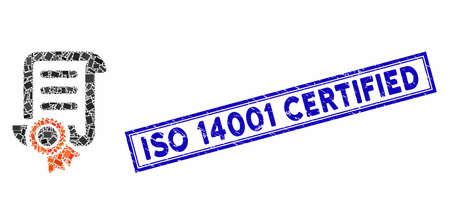 Mosaic certified scroll document and rubber stamp seal with ISO 14001 Certified caption. Mosaic certified scroll document is created with randomized rectangles.