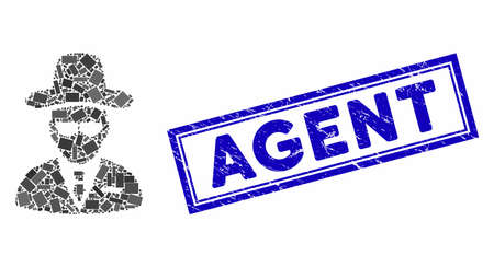 Mosaic agent and distressed stamp seal with Agent caption. Mosaic agent is designed with randomized rectangle items. Agent stamp seal uses blue color.