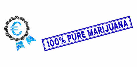 Mosaic Euro guarantee seal and grunge stamp seal with 100% Pure Marijuana text. Mosaic Euro guarantee seal is designed with randomized rectangles. 100% Pure Marijuana stamp uses blue color. 向量圖像