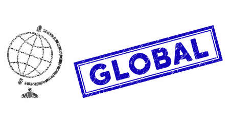 Mosaic global and corroded stamp seal with Global caption. Mosaic vector global is created with randomized rectangle items. Global stamp seal uses blue color. 向量圖像