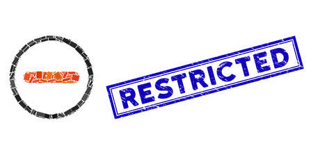 Mosaic restricted and rubber stamp seal with Restricted phrase. Mosaic vector restricted is created with randomized rectangle items. Restricted stamp seal uses blue color.