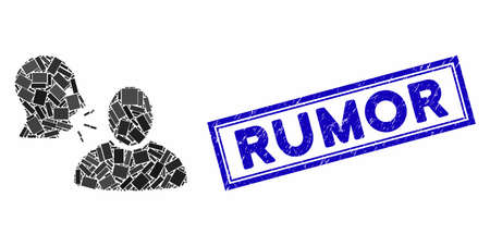 Mosaic rumor and rubber stamp seal with Rumor text. Mosaic vector rumor is formed with random rectangles. Rumor stamp seal uses blue color.