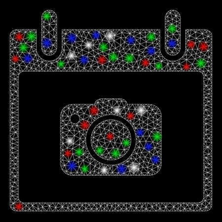 Bright mesh photo camera calendar day with lightspot effect. White wire carcass polygonal mesh in vector format on a black background. Abstract 2d mesh designed with polygonal grid, small circle,