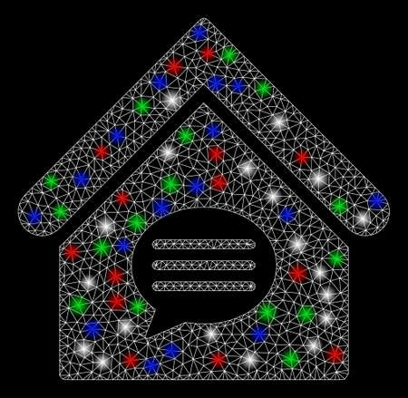 Bright mesh realty message with glow effect. White wire frame triangular mesh in vector format on a black background. Abstract 2d mesh designed with triangular lines, round dots, colorful flare spots. Illustration