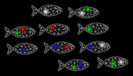 Bright mesh fishes with glare effect. White wire carcass triangular network in vector format on a black background. Abstract 2d mesh created from triangular lines, small circle,
