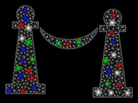 Bright mesh private party stanchions with glow effect. White wire frame polygonal network in vector format on a black background. Abstract 2d mesh designed with polygonal grid, spheric points,