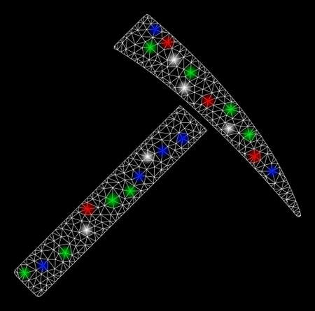 Bright mesh mining hammer with lightspot effect. White wire carcass polygonal mesh in vector format on a black background. Abstract 2d mesh designed with polygonal grid, spheric points,