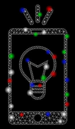 Bright mesh mobile lamp light with lightspot effect. White wire frame polygonal mesh in vector format on a black background. Abstract 2d mesh created from polygonal grid, points, colorful flash spots. Illusztráció
