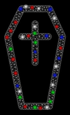 Bright mesh christian coffin with lightspot effect. White wire frame triangular mesh in vector format on a black background. Abstract 2d mesh designed with triangular lines, spheric points,