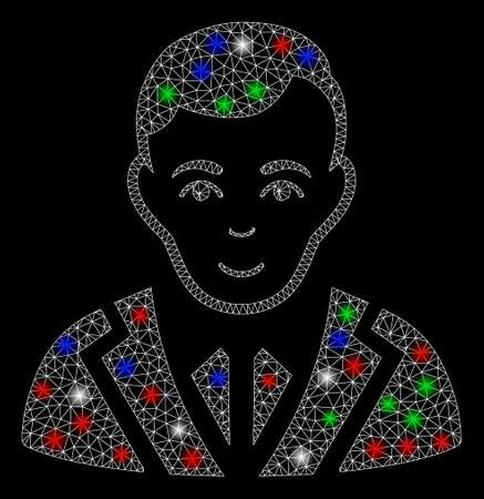 Maille brillante noble avec effet lumineux. Maille triangulaire de carcasse de fil blanc en format vectoriel sur fond noir. Maille 2d abstraite conçue avec des lignes triangulaires, des points ronds, des taches d'éblouissement colorées.