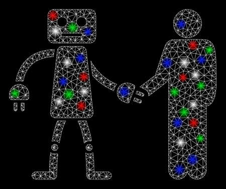 Bright mesh robot human handshake with lightspot effect. White wire carcass triangular mesh in vector format on a black background. Abstract 2d mesh designed with triangles, dots, colored light spots.