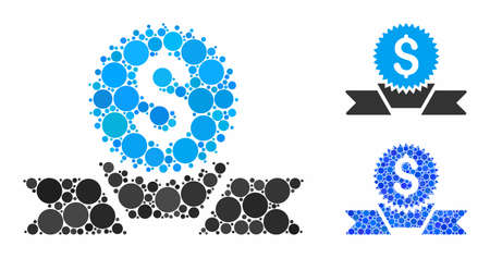 Banking award composition of small circles in variable sizes and color tinges, based on banking award icon. Vector small circles are composed into blue illustration.
