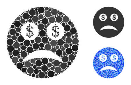 Bankrupt smiley mosaic of filled circles in different sizes and color tints, based on bankrupt smiley icon. Vector filled circles are composed into blue collage.