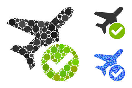 Aircraft OK mosaic of circle elements in different sizes and color tinges, based on aircraft OK icon. Vector small circles are grouped into blue mosaic.