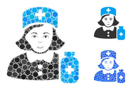 Apothecary lady mosaic of round dots in variable sizes and color tones, based on apothecary lady icon. Vector round dots are organized into blue composition. Illustration