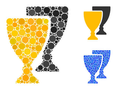 Award cups composition of filled circles in variable sizes and shades, based on award cups icon. Vector filled circles are grouped into blue mosaic. Dotted award cups icon in usual and blue versions. Illustration