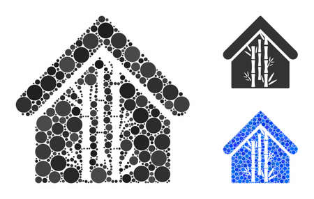 Bamboo house composition of small circles in various sizes and shades, based on bamboo house icon. Vector small circles are composed into blue mosaic.