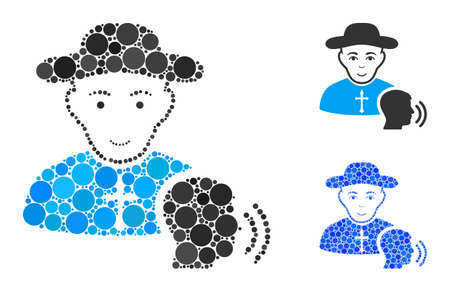 Believer confession mosaic of round dots in variable sizes and color tinges, based on believer confession icon. Vector dots are combined into blue mosaic.