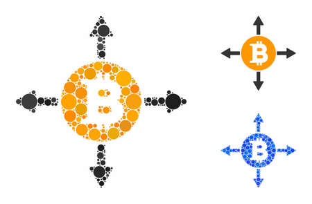Bitcoin directions composition of round dots in different sizes and color tints, based on Bitcoin directions icon. Vector random circles are organized into blue composition.