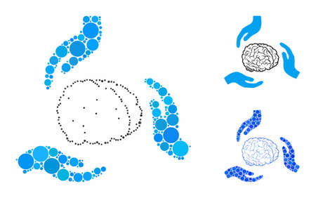 Brain care hands composition of filled circles in various sizes and shades, based on brain care hands icon. Vector random circles are composed into blue mosaic.  イラスト・ベクター素材