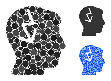Brain electric strike composition of filled circles in variable sizes and color hues, based on brain electric strike icon. Vector filled circles are organized into blue illustration.