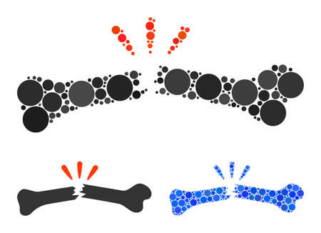 Broken bone composition of circle elements in variable sizes and color tints, based on broken bone icon. Vector circle elements are combined into blue composition. Çizim