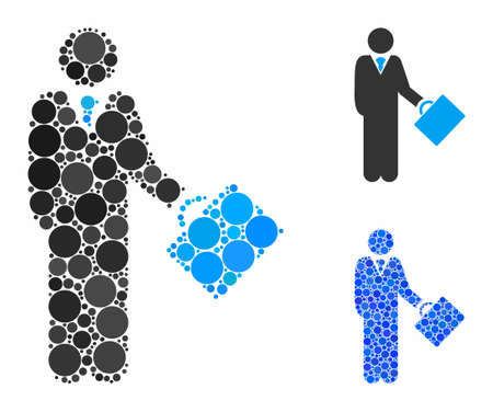 Businessman mosaic of round dots in various sizes and color tones, based on businessman icon. Vector round elements are grouped into blue mosaic. Dotted businessman icon in usual and blue versions.