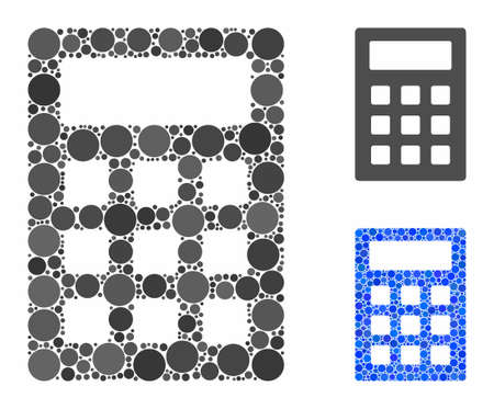 Calculator mosaic of small circles in various sizes and shades, based on calculator icon. Vector circle elements are grouped into blue mosaic. Dotted calculator icon in usual and blue versions. 向量圖像
