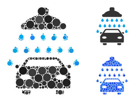 Car shower composition of filled circles in various sizes and color tones, based on car shower icon. Vector filled circles are composed into blue composition.