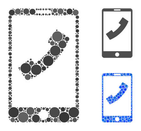 Cell phone mosaic of spheric dots in various sizes and color hues, based on cell phone icon. Vector filled circles are grouped into blue mosaic. Dotted cell phone icon in usual and blue versions.
