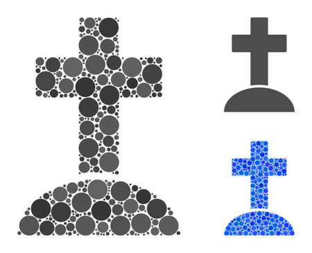 Cemetery cross composition of filled circles in various sizes and color tinges, based on cemetery cross icon. Vector filled circles are composed into blue illustration. Ilustração