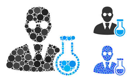 Chemist mosaic of filled circles in variable sizes and shades, based on chemist icon. Vector round dots are grouped into blue mosaic. Dotted chemist icon in usual and blue versions.