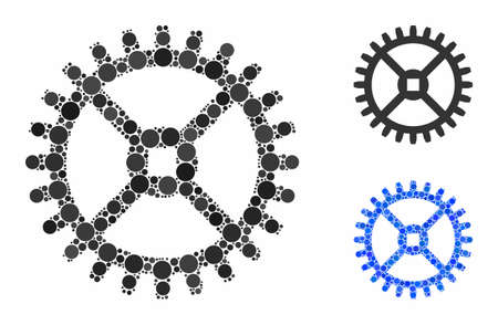 Clock gear composition of round dots in variable sizes and shades, based on clock gear icon. Vector dots are organized into blue composition. Dotted clock gear icon in usual and blue versions.